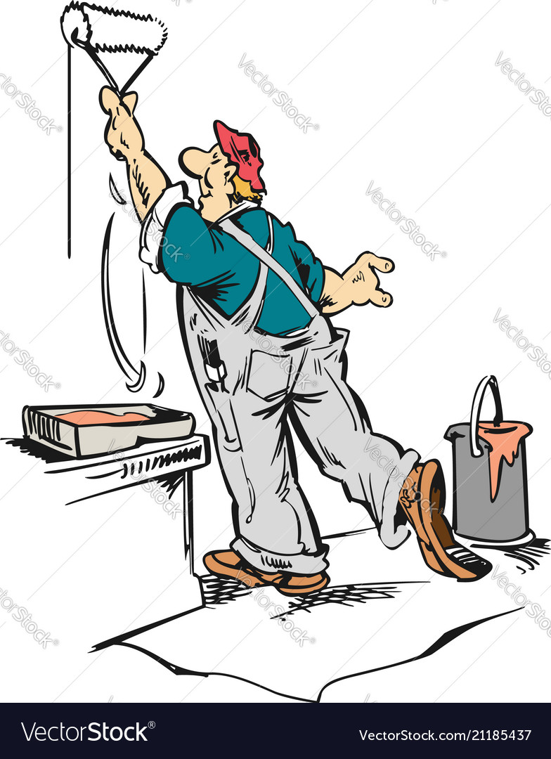 Man Worker Painting Wall Cartoon