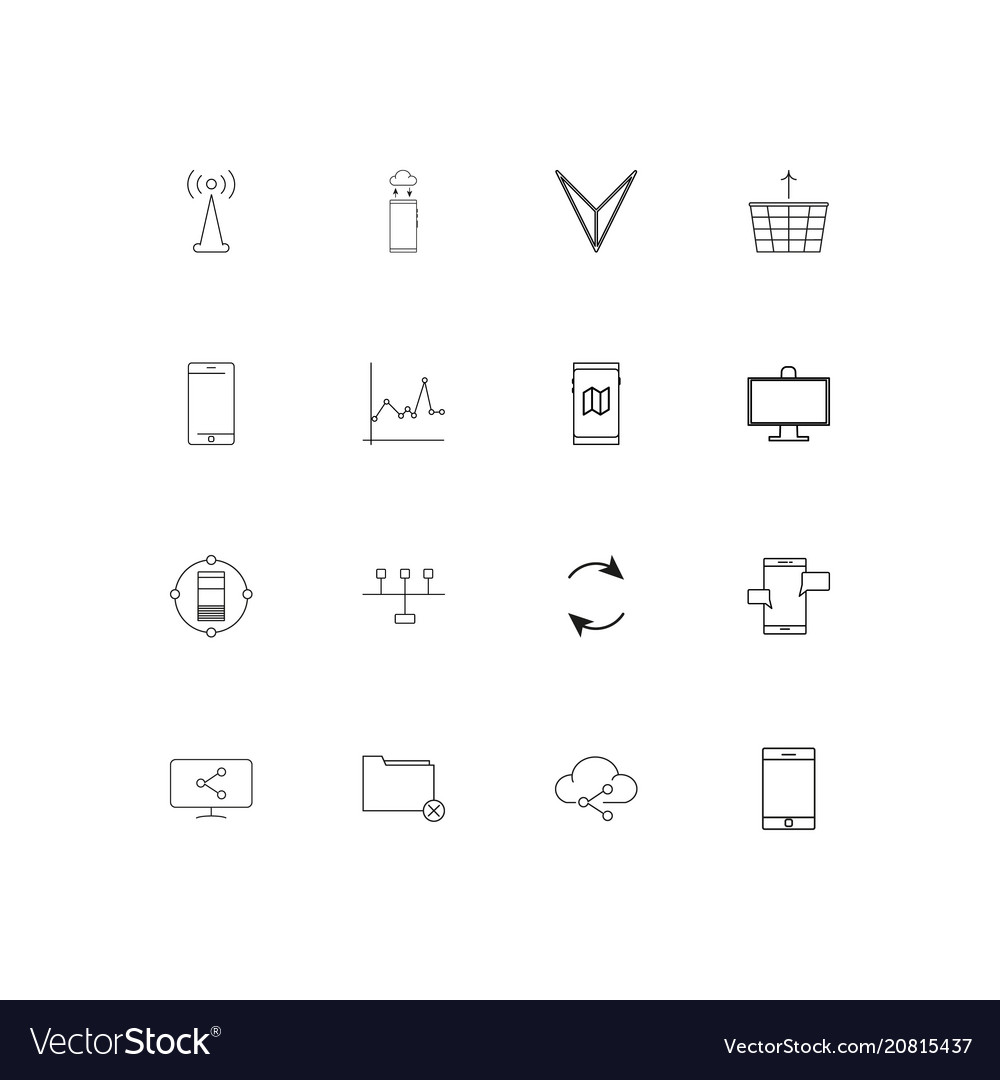 Network and database linear thin icons set