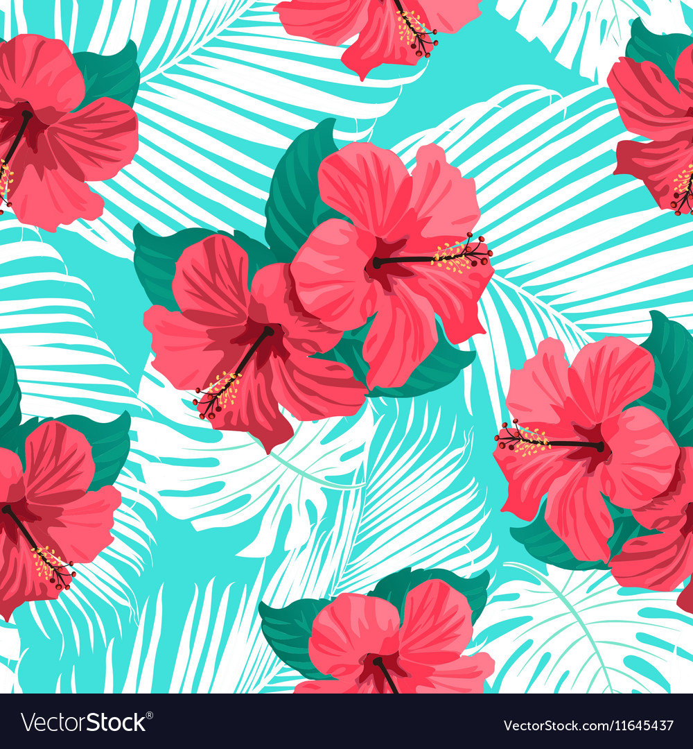 Tropical flowers and palm leaves vector image