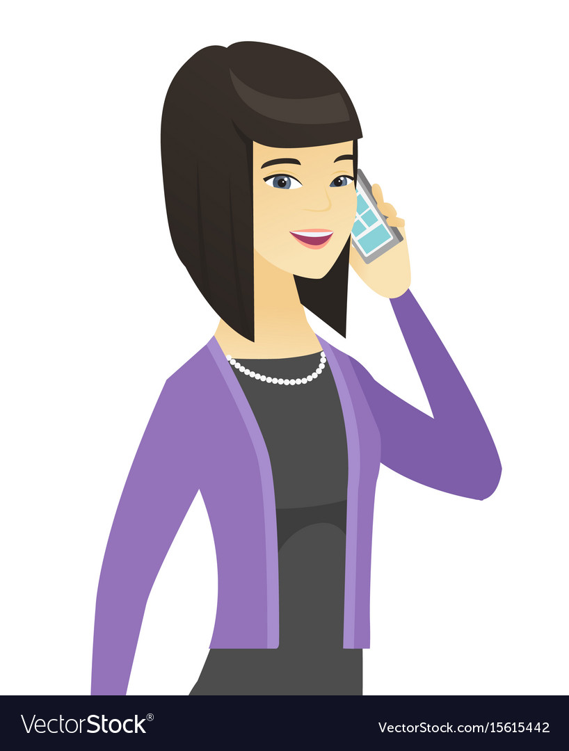 Asian business woman talking on a mobile phone