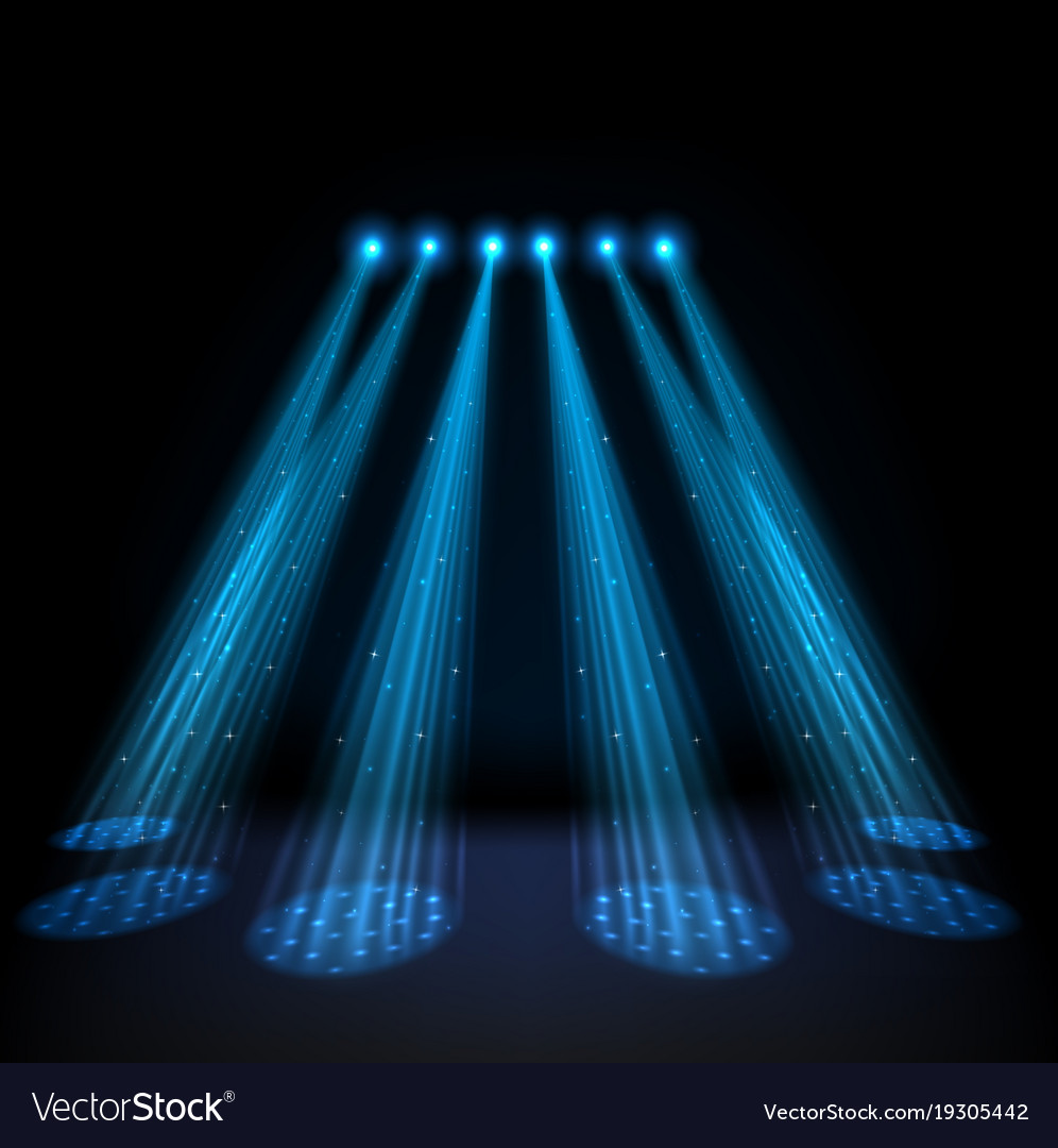 Blue spotlights on dark background