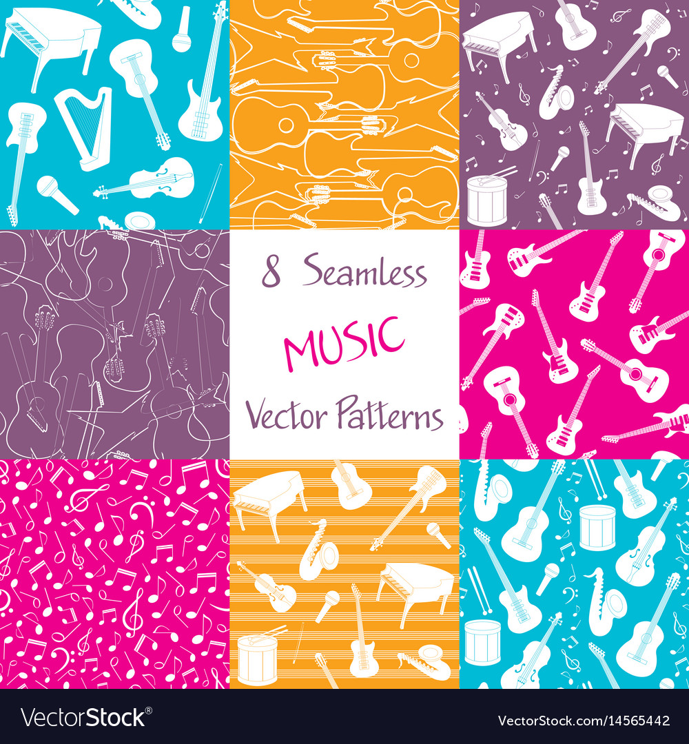 Collection of music seamless patterns