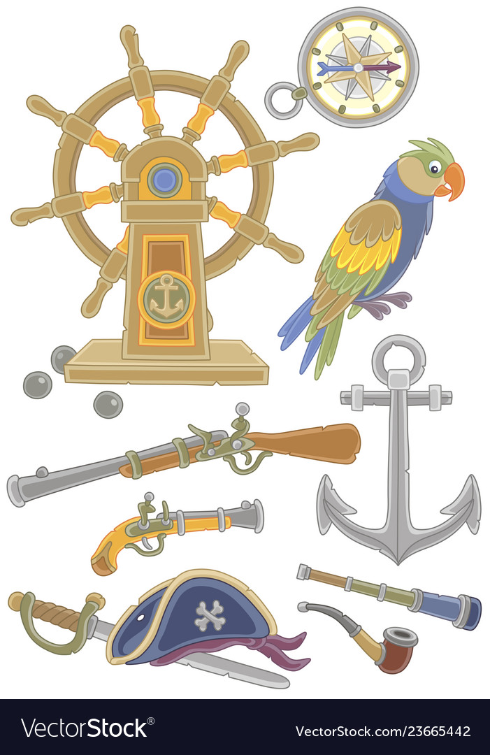 Collection of old pirate weapons and things