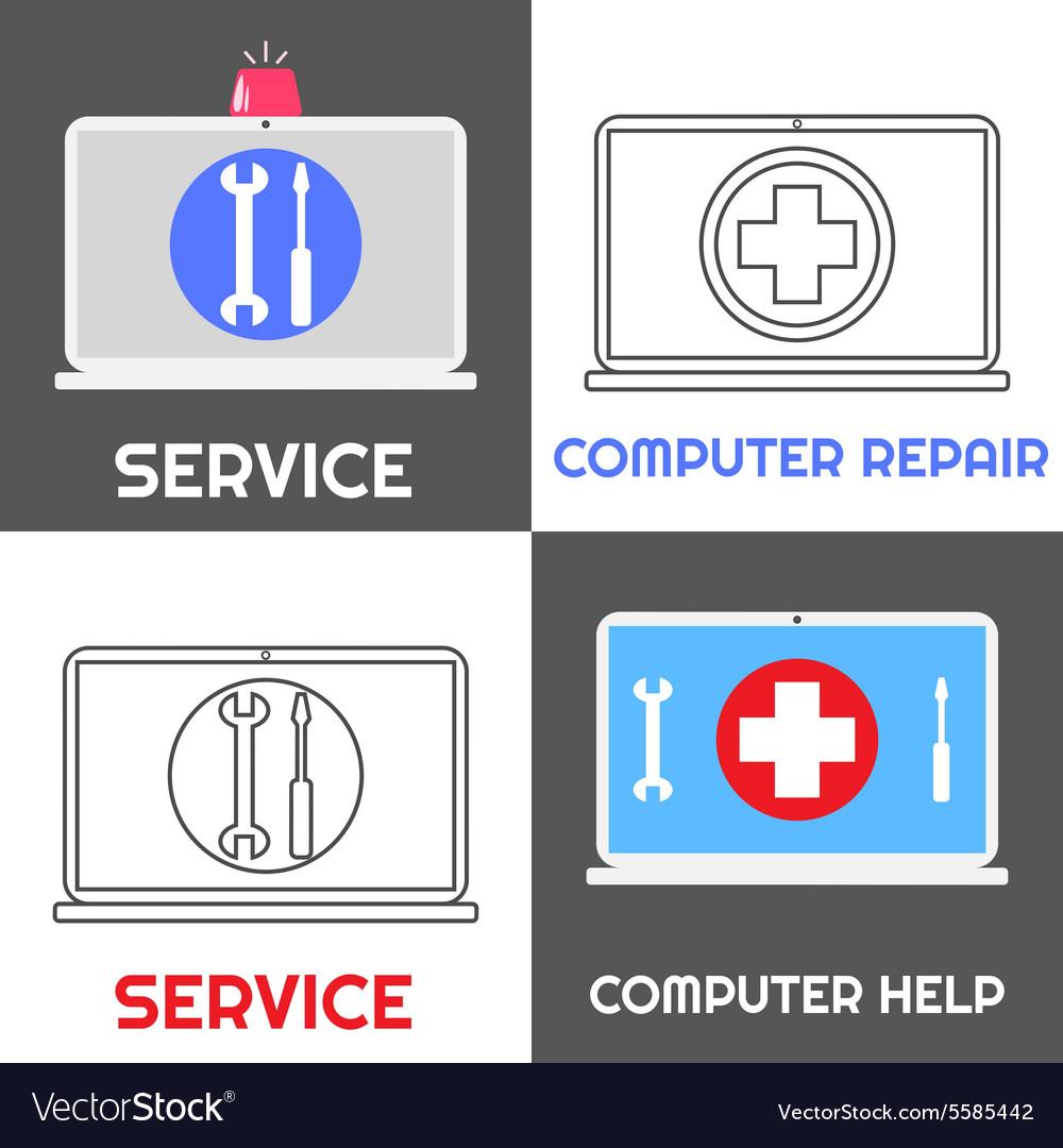 Computer repair service Laptop help icon set