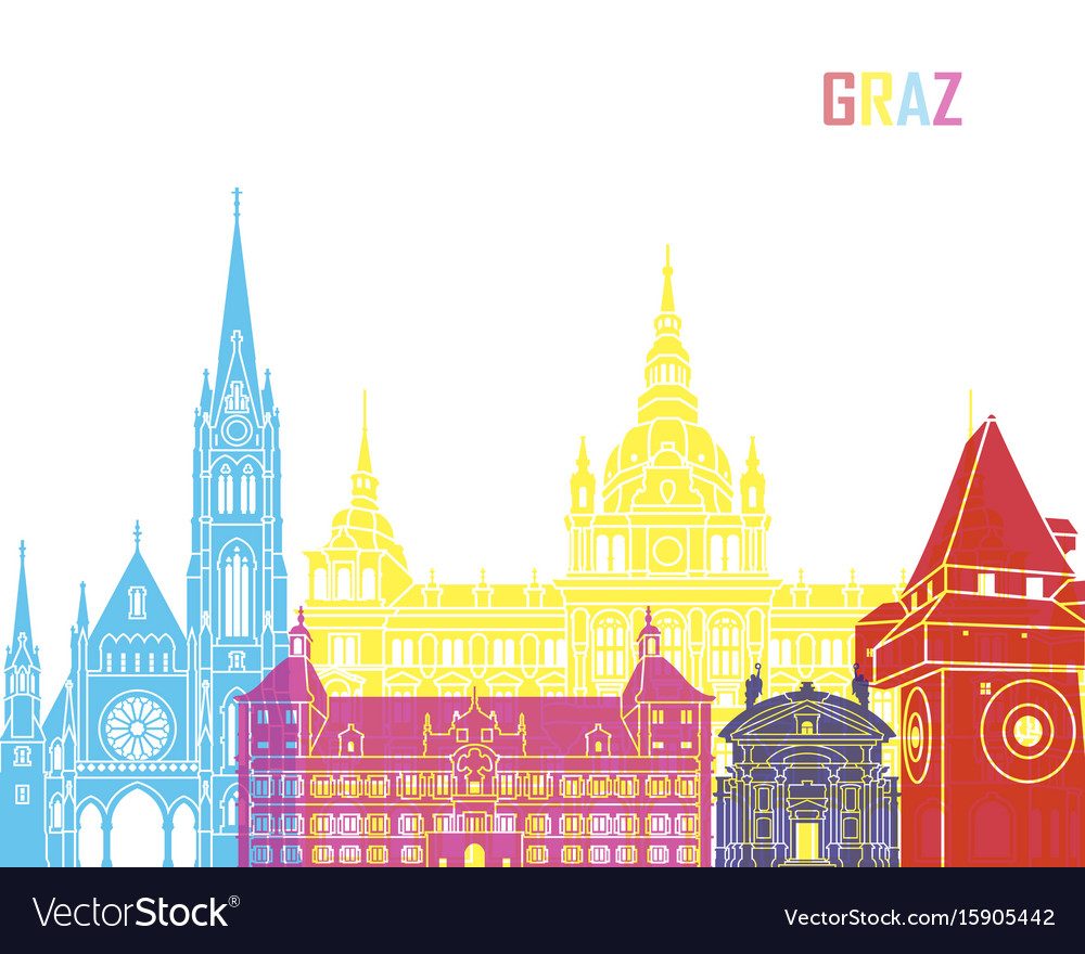 Graz skyline pop vector image