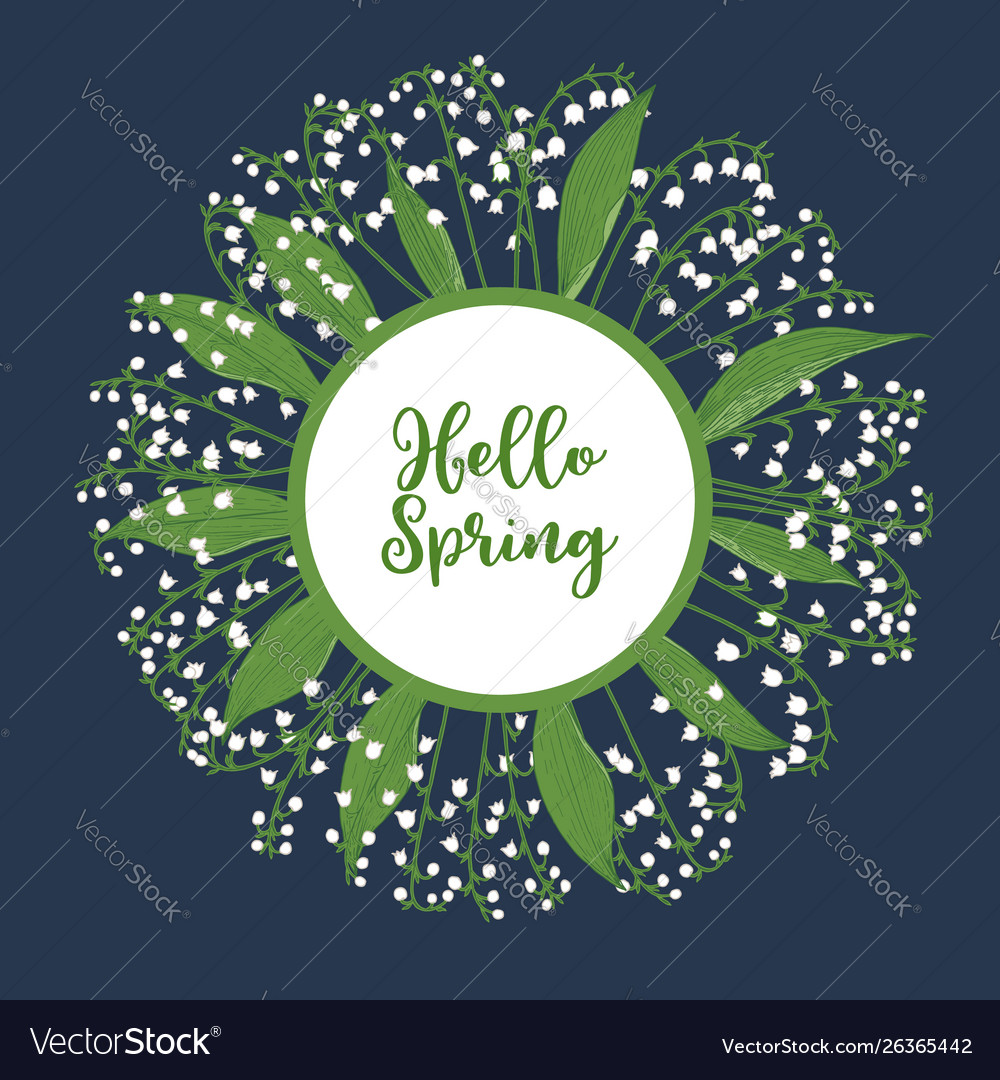 Hello spring greeting card with lily valley