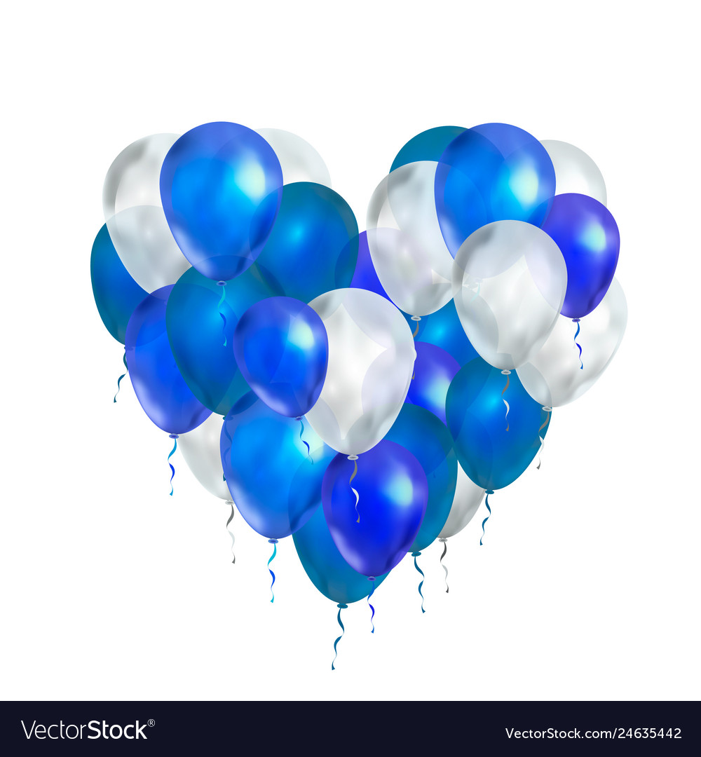 Luxury balloons in blue and white colours in heart