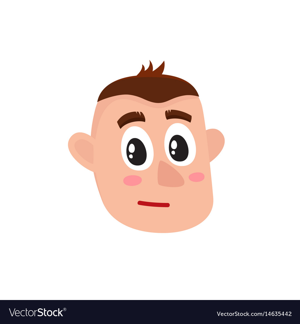 Male head with troubled confused worried face vector image