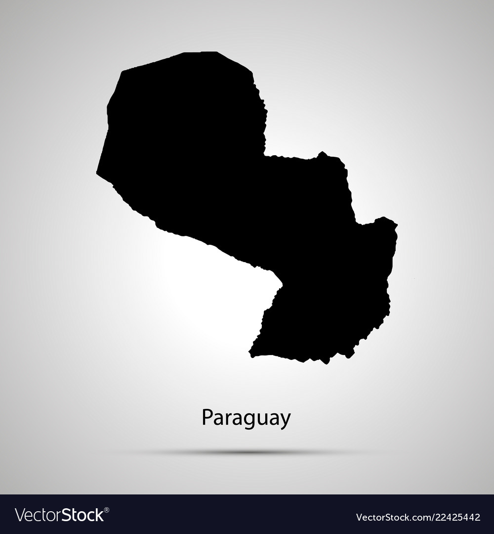 Paraguay country map simple black silhouette on