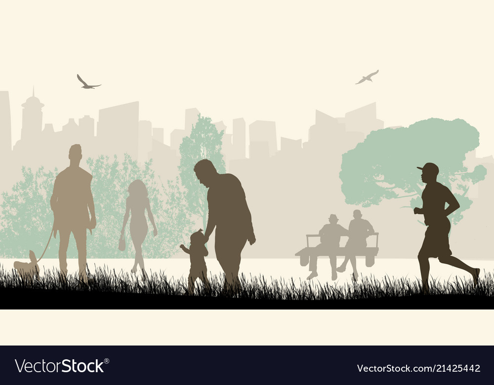 People in a city park silhouettes