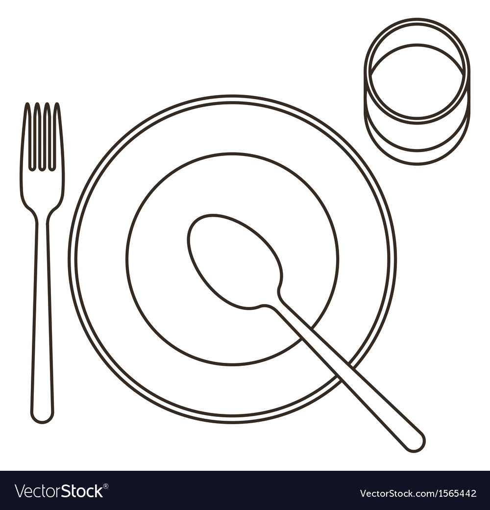 Place setting with plate spoon fork and glass vector image