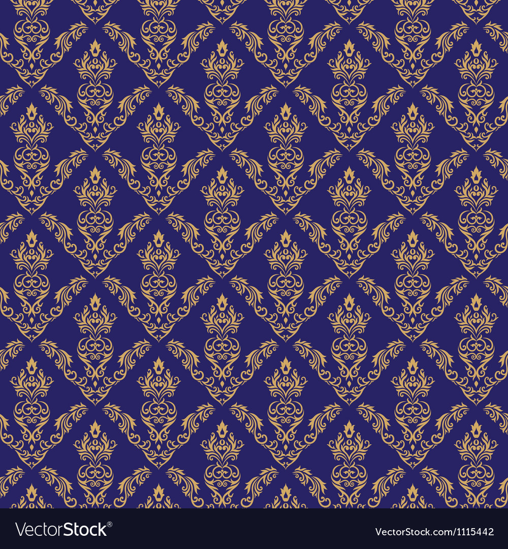 Seamless Damask Wallpaper 2 Blue Color Vector Image