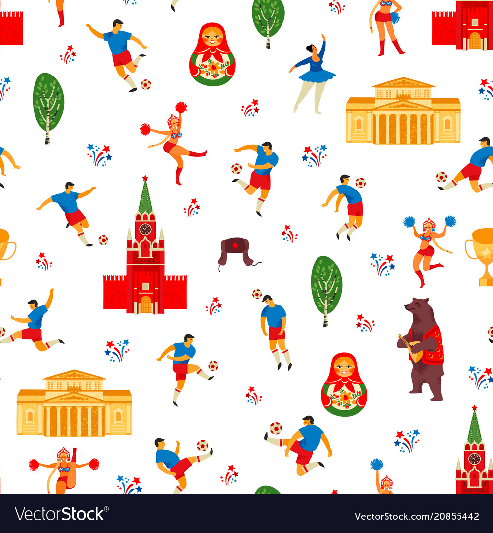 Seamless pattern in russian style soccer