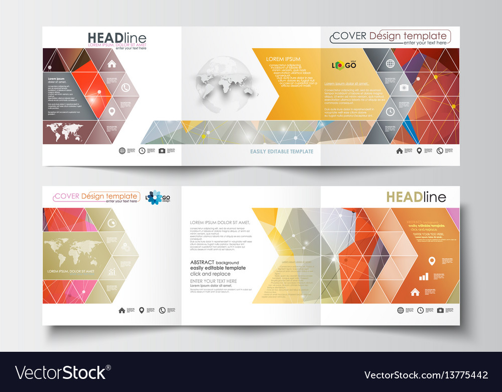 Set of business square templates for tri-fold