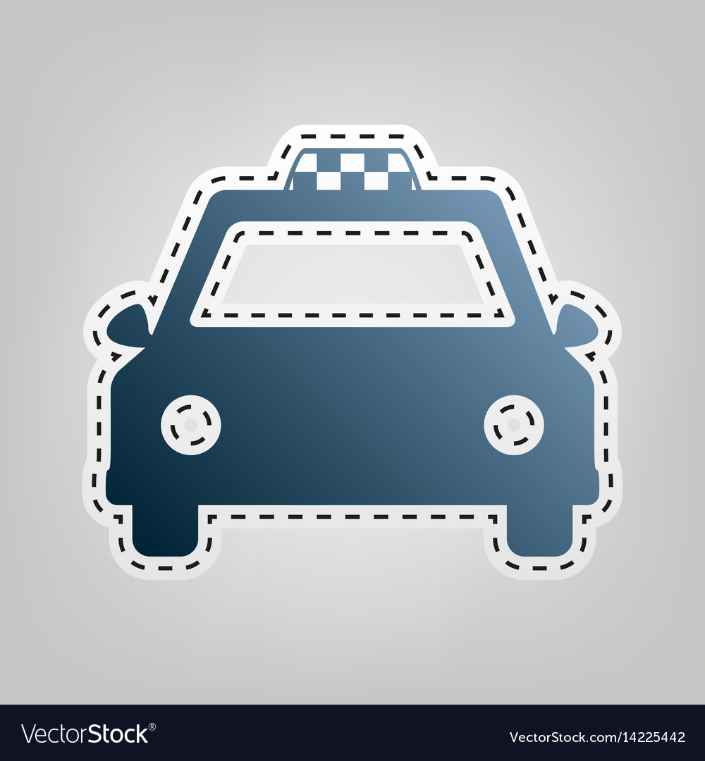 Taxi sign blue icon with