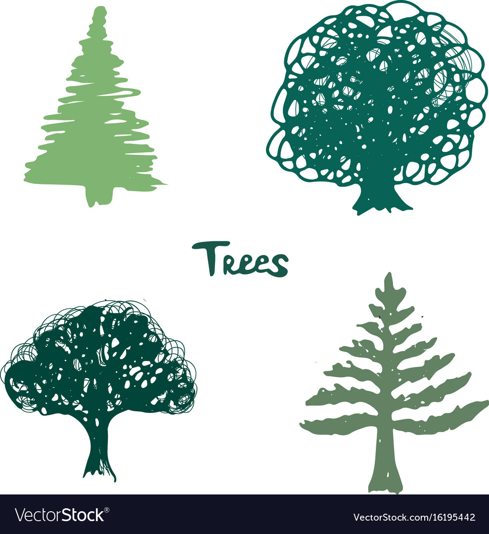 Trees green silhouette inked hand drawn isolated