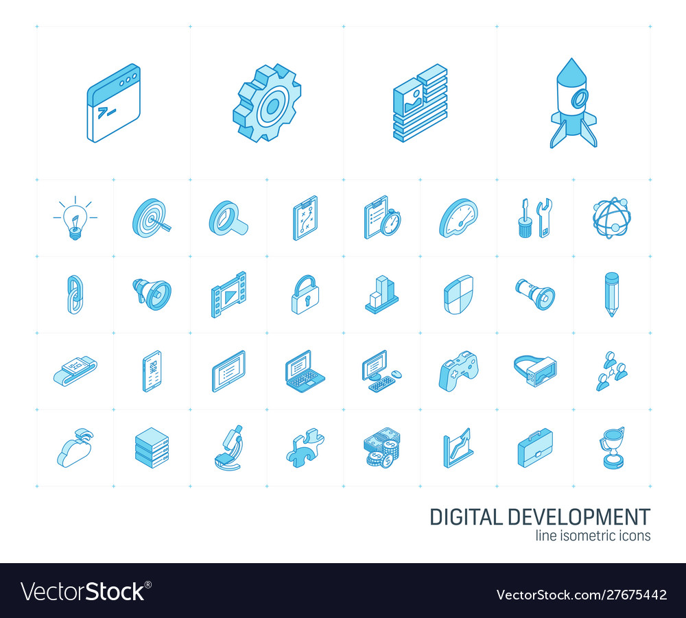 Web and app development isometric line icons 3d