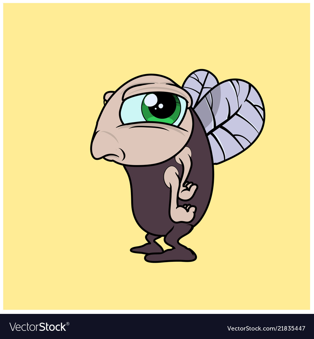 A funny fly character in cartoon style