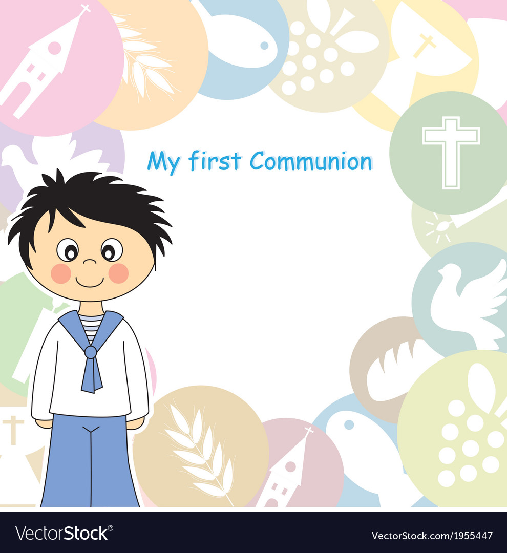 boy first communion invitation royalty free vector image