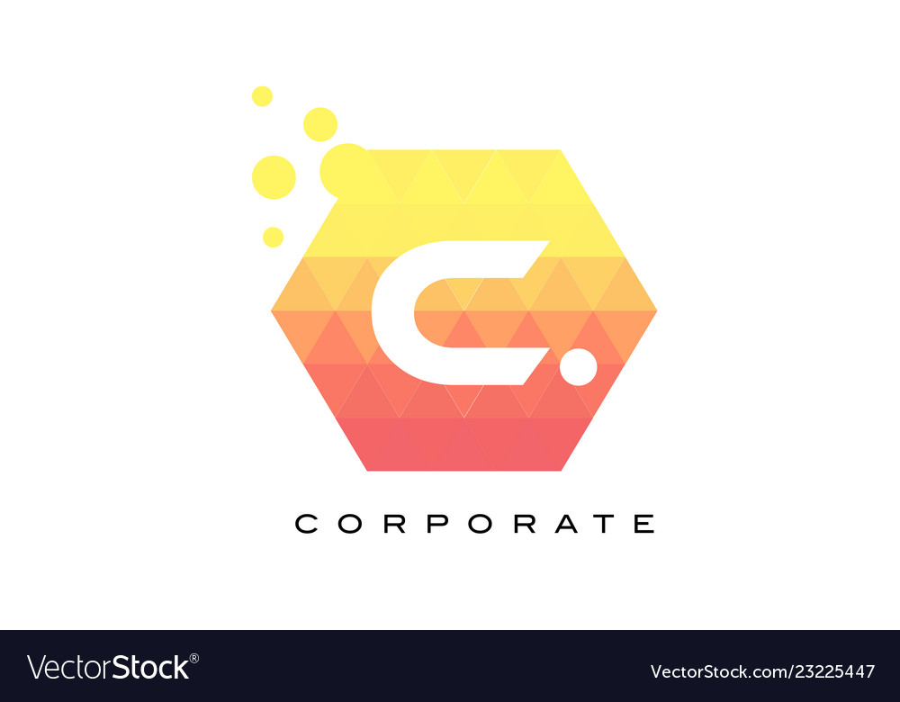 C orange hexagon shaped letter logo with bubbles