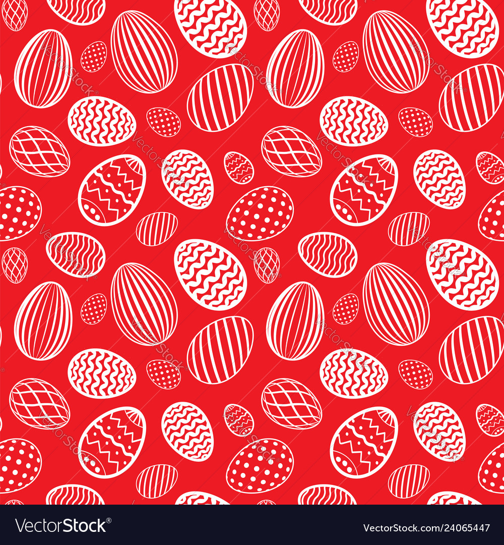 Easter egg seamless pattern red white color