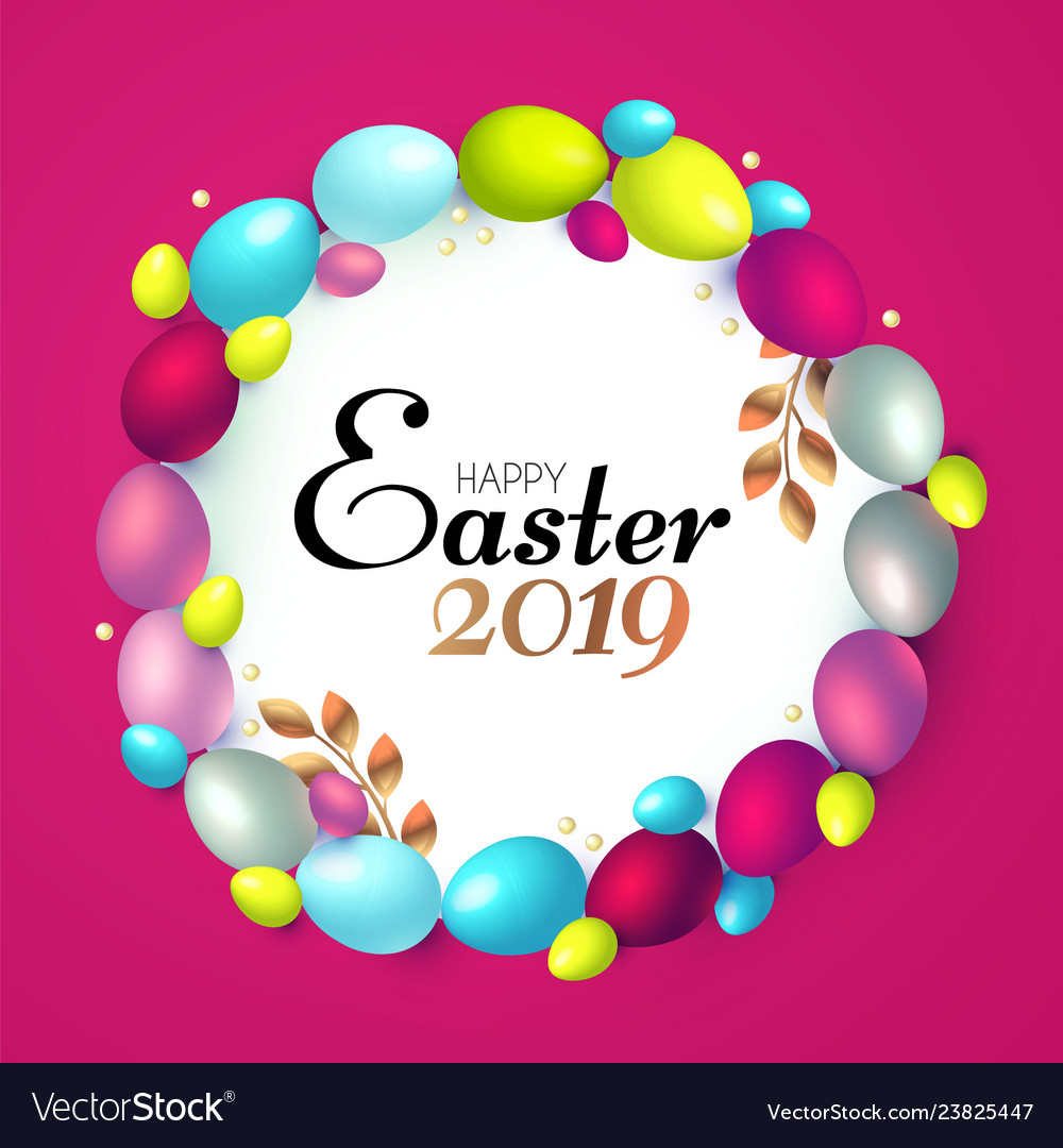 Easter wreath with realistic colorful eggs