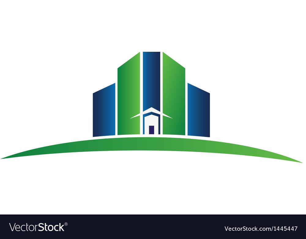 Green building real estate logo
