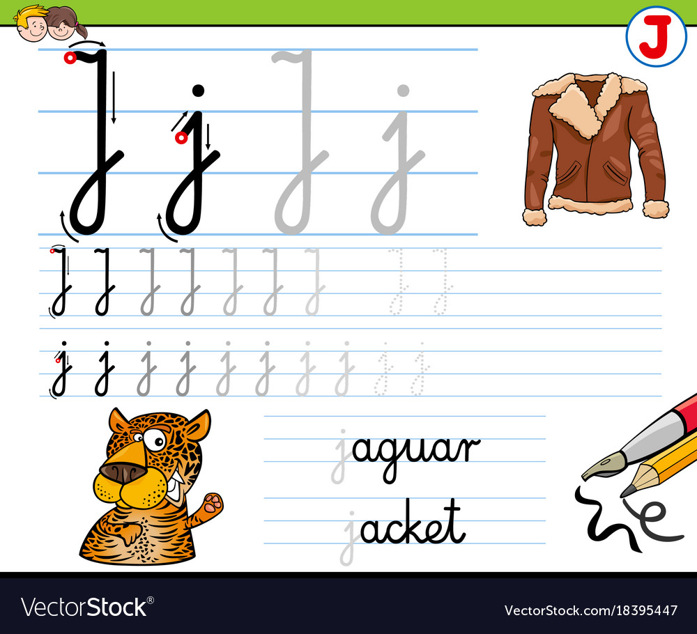 How To Write Letter J Worksheet For Kids Vector Image