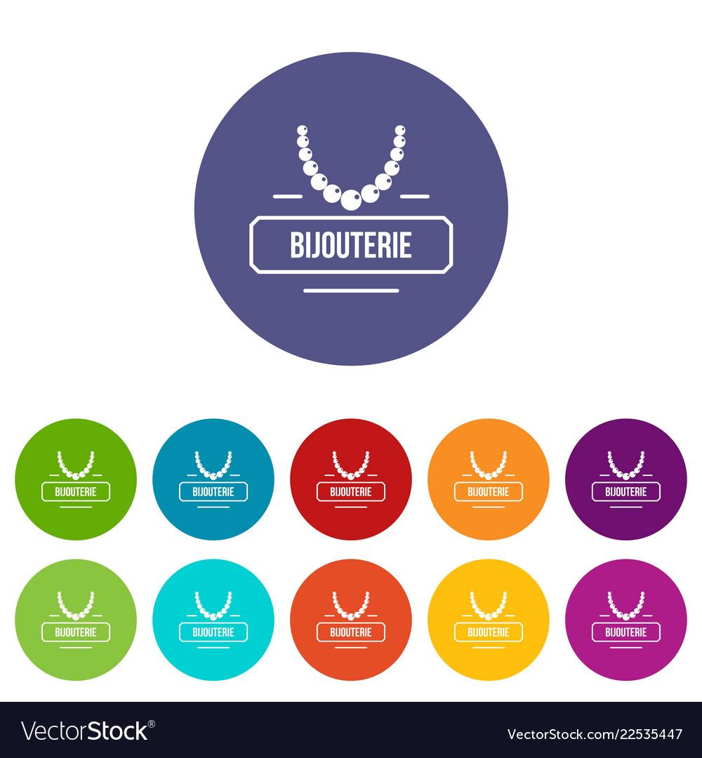 Jewelry bijouterie icons set color