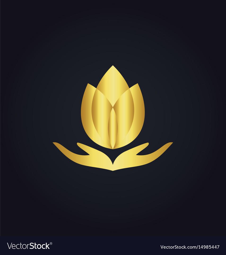 Lotus flower meditation spa gold logo