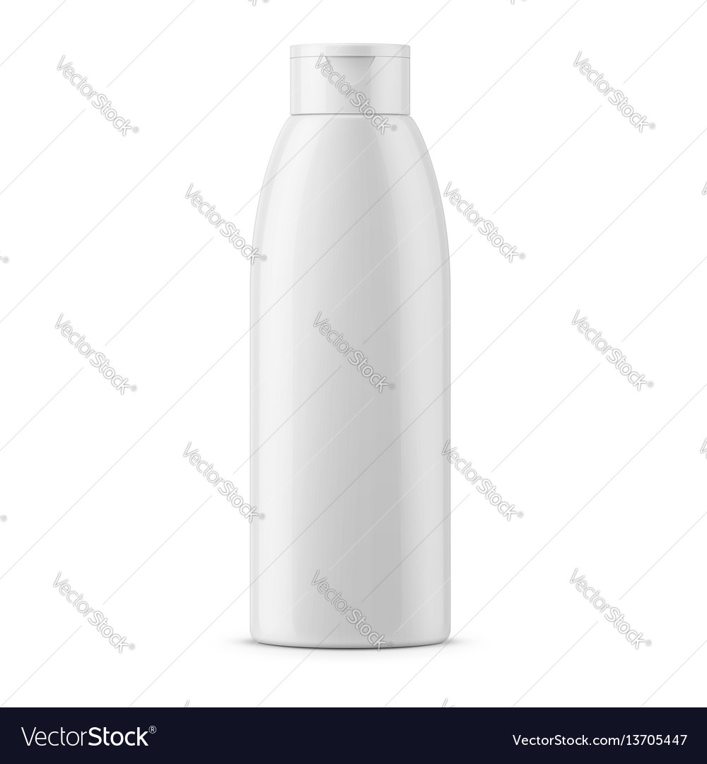 White glossy shampoo bottle template vector image