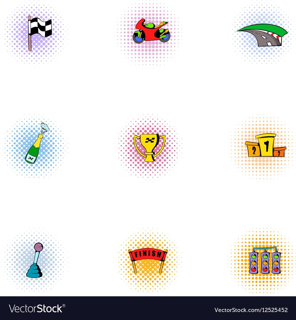 Championship formula 1 icons set pop-art style