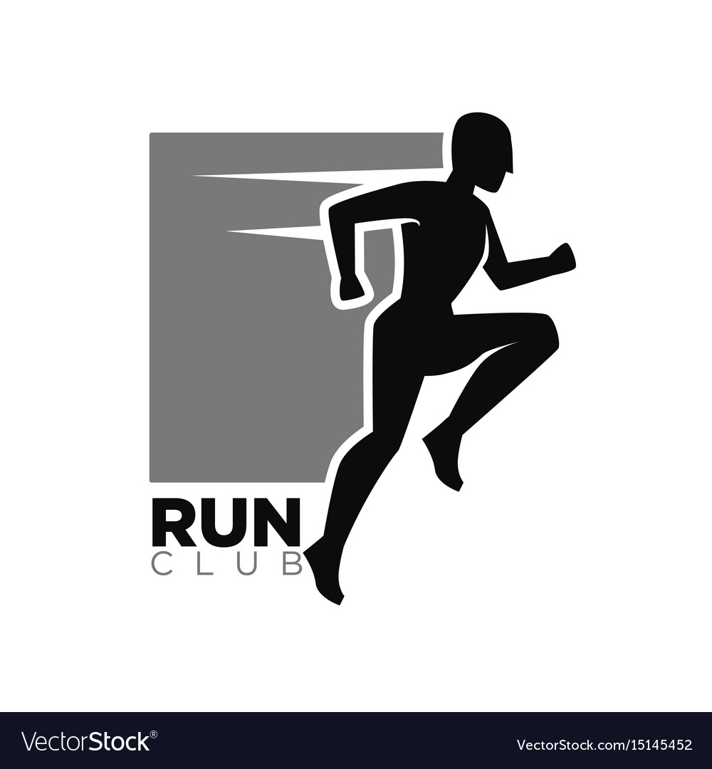 Run club monochrome logotype with human in move