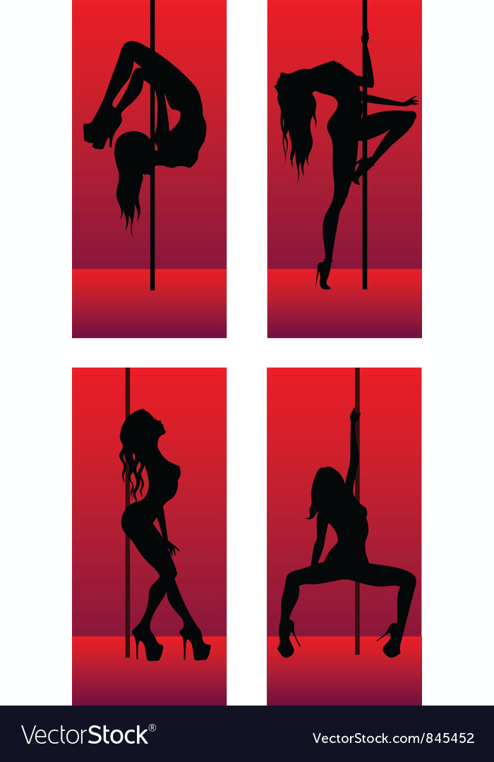 Set of silhouettes dancing girls