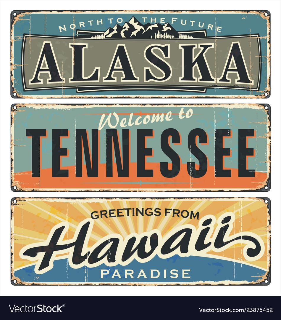 Vintage tin sign collection with us alaska
