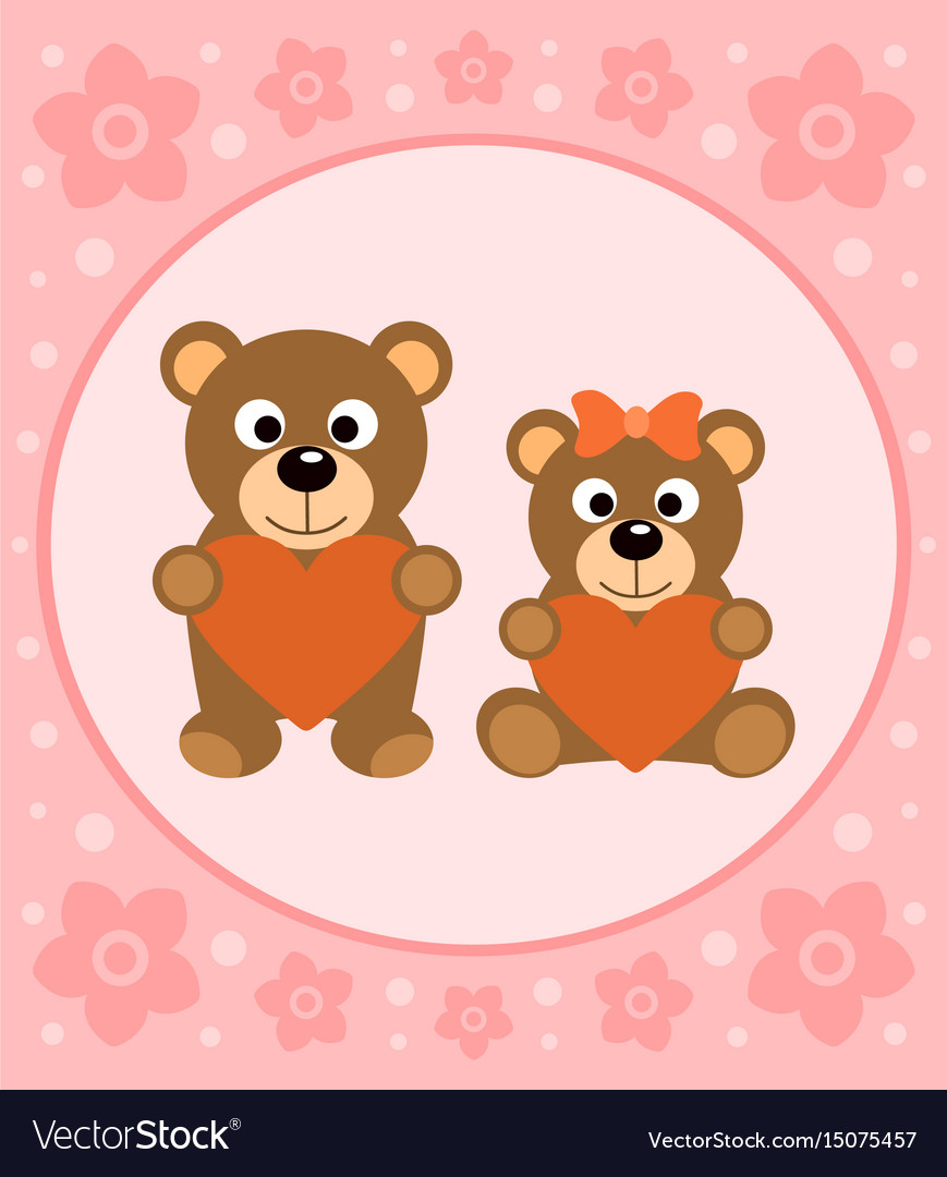 Background card with funny bears cartoon