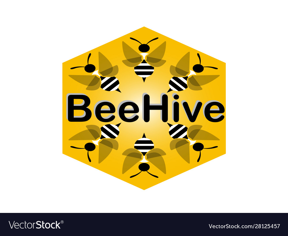 Beehive bees fly in a hexagon for logo