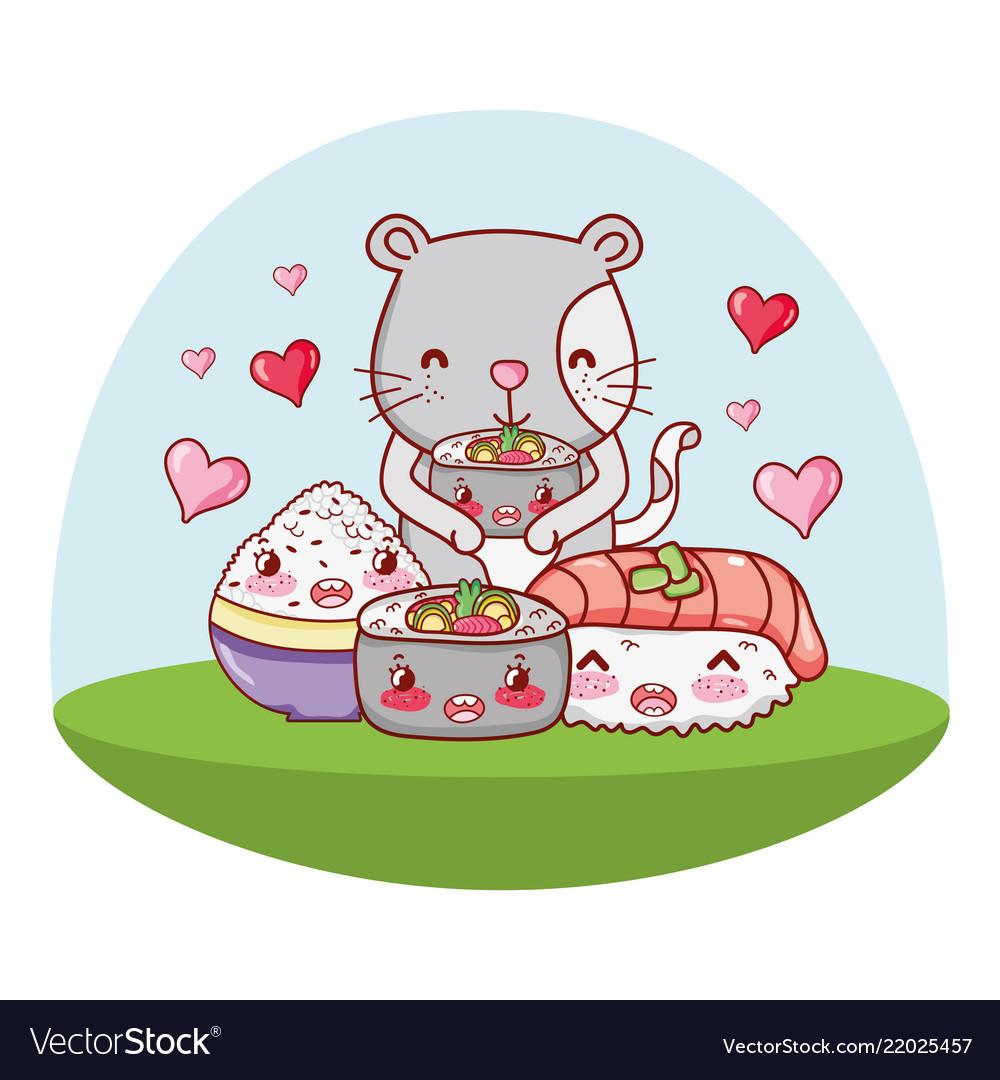 Cat And Food Kawaii Cartoons Royalty Free Vector Image