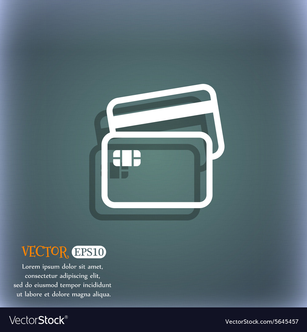 credit card icon symbol on the blue green abstract
