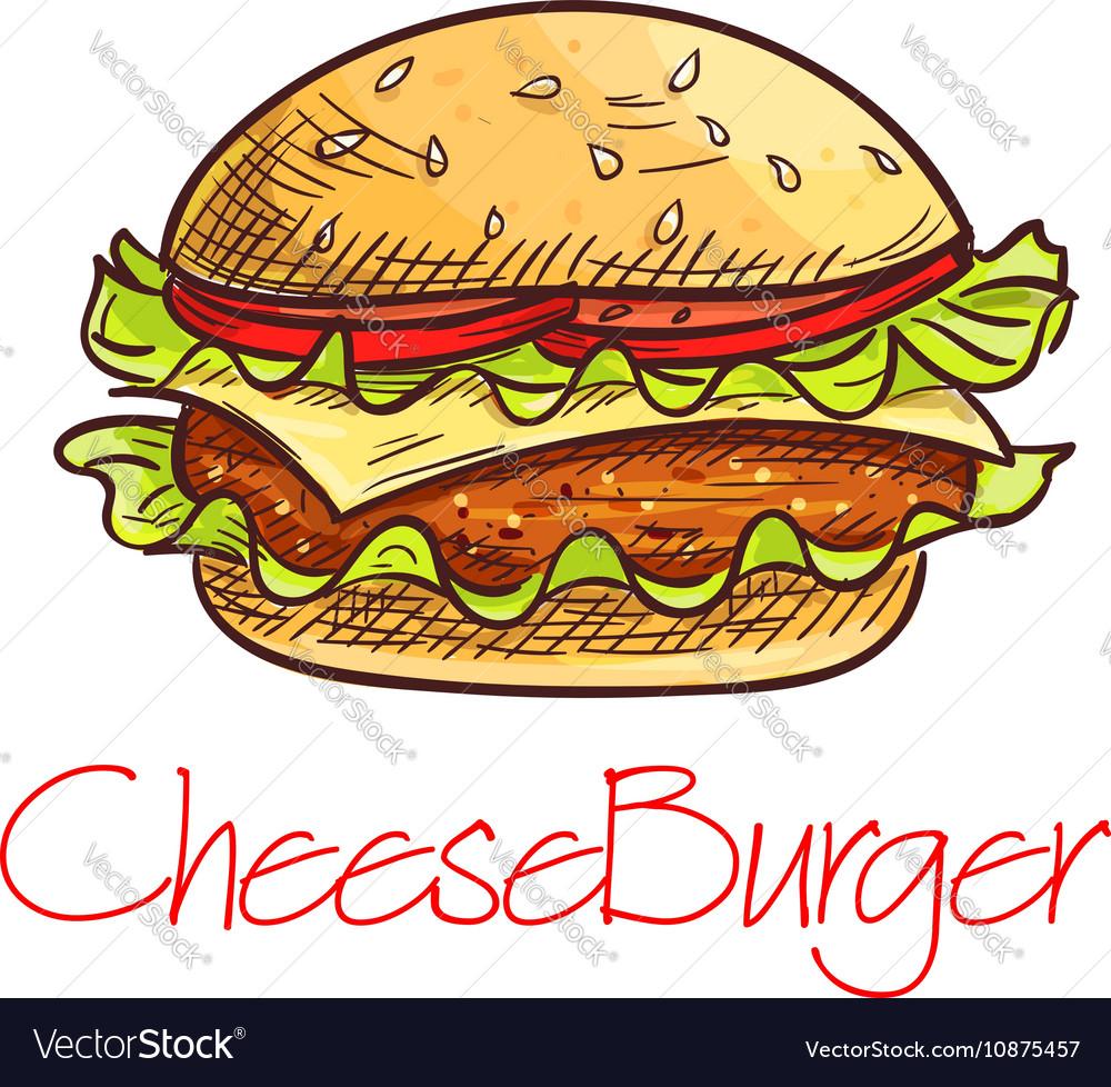 Fast food cheeseburger sketch for cafe menu design
