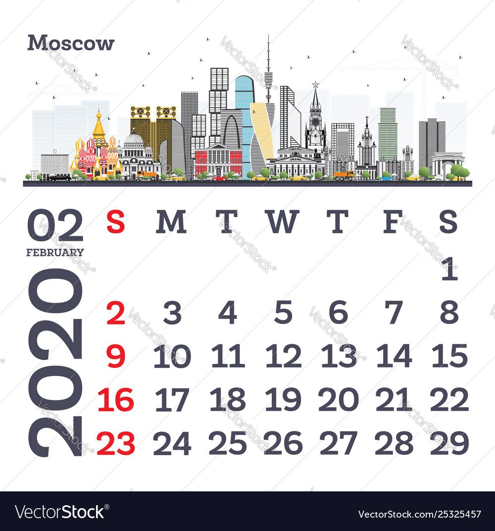 Free February 2020 Calendar Vector February 2020 calendar template with moscow city Vector Image