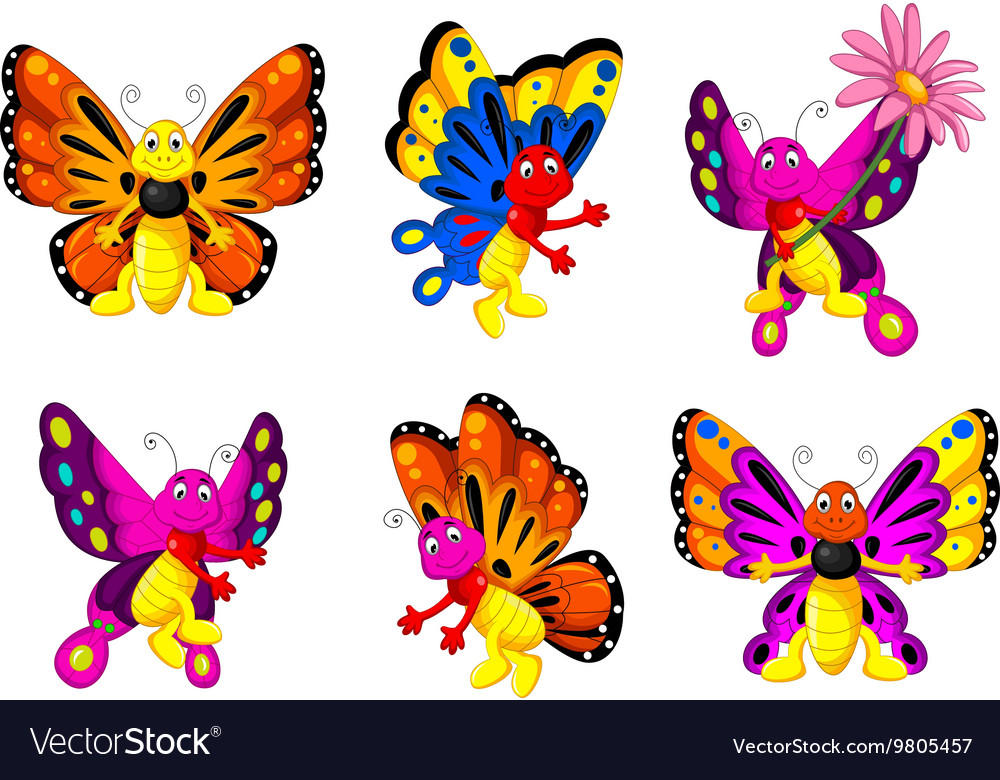 Funny butterfly cartoon set vector image
