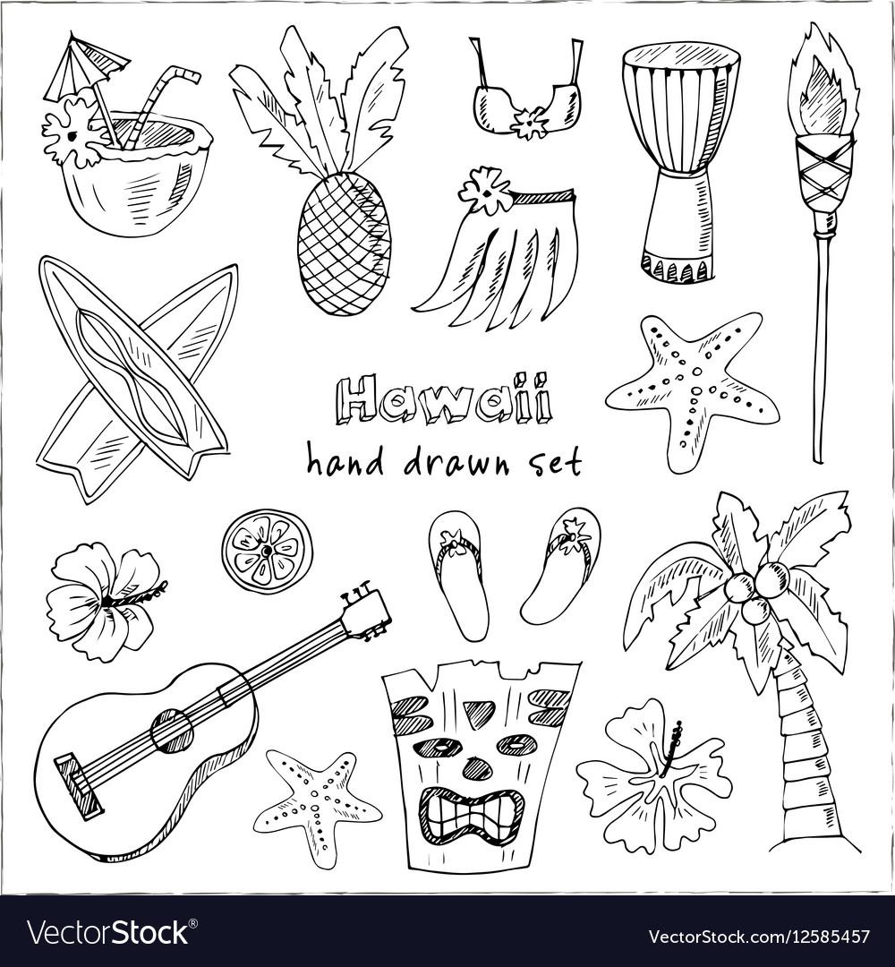 Hawaii Symbols and Icons including Hula skirt