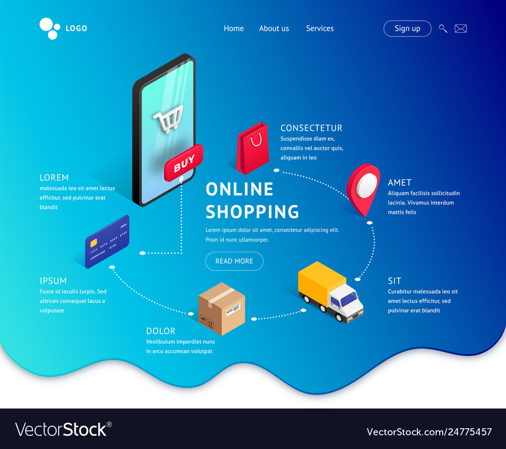 Landing page template isometric smartphone