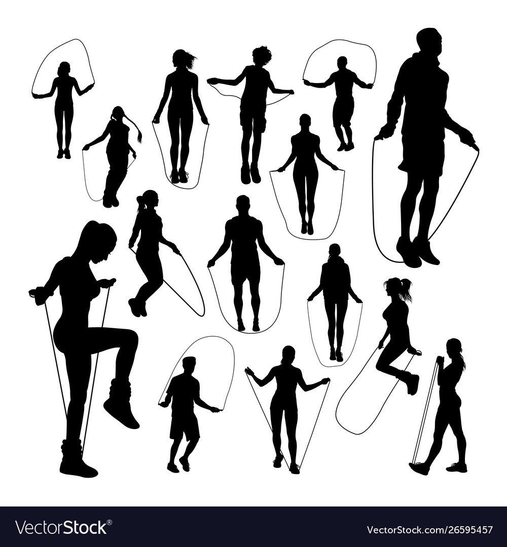 People jumping rope silhouettes