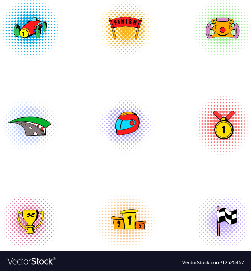 Racing accessories icons set pop-art style vector image