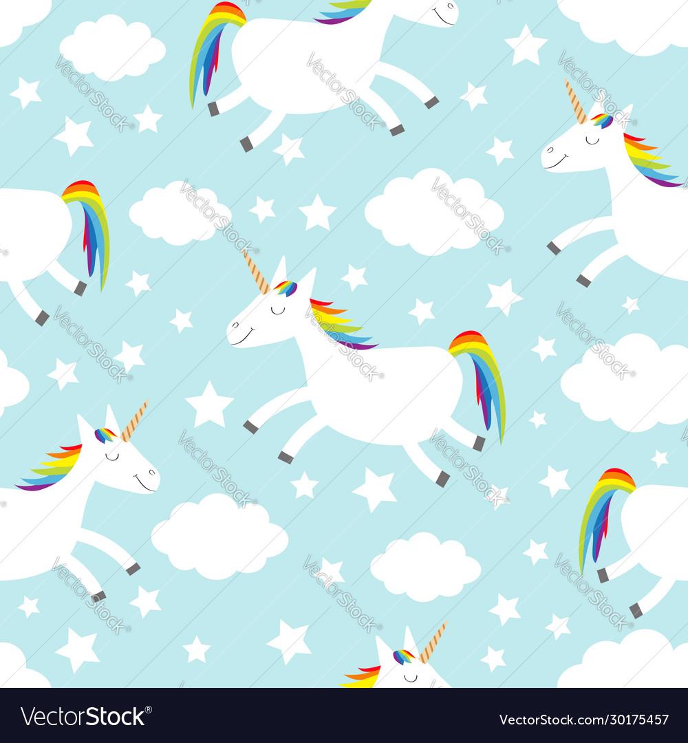 Seamless pattern unicorn jumping cloud star in
