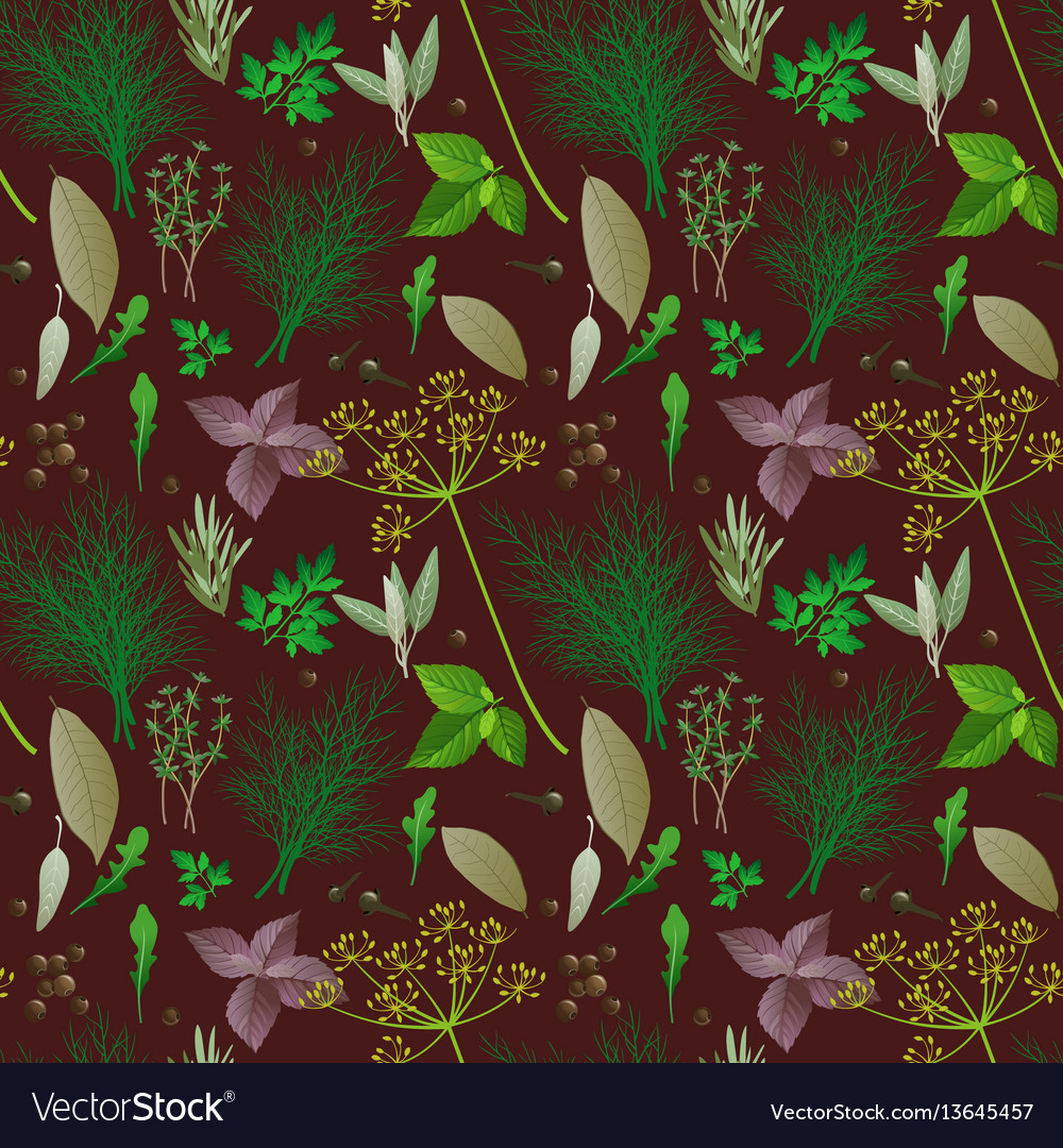 Seamless pattern with herbs and spices