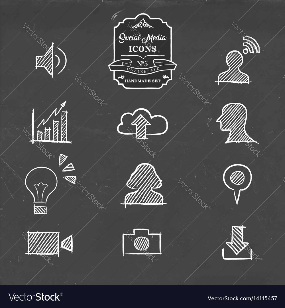 Social media icon set in hand drawn sketch style