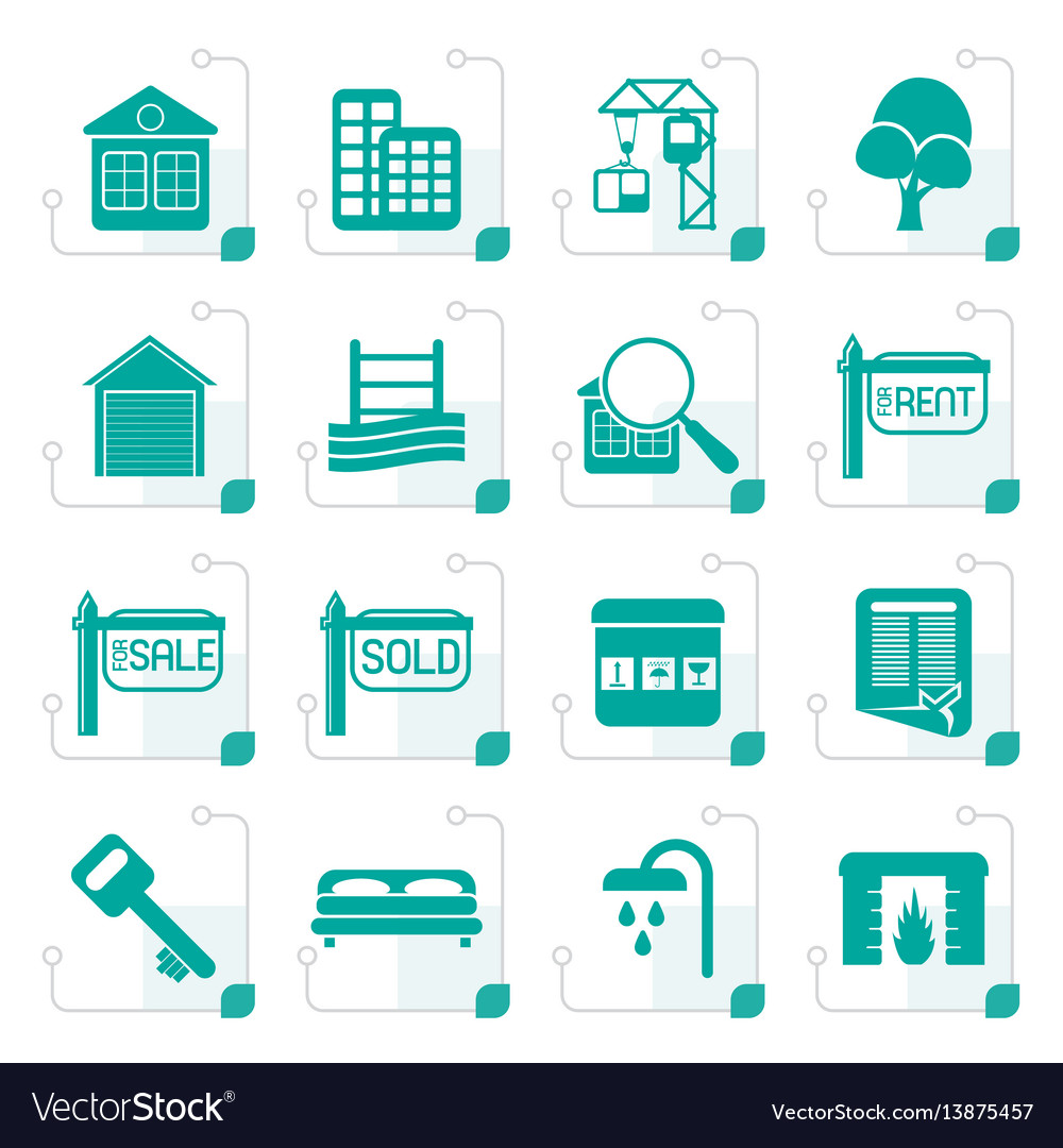 Stylized simple real estate icons